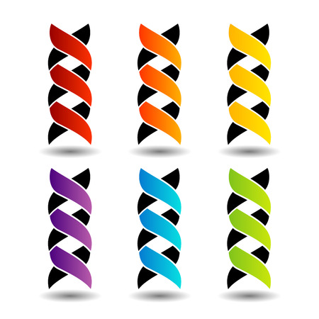 deoxyribonucleic: Set of colorful DNA logos with shadow