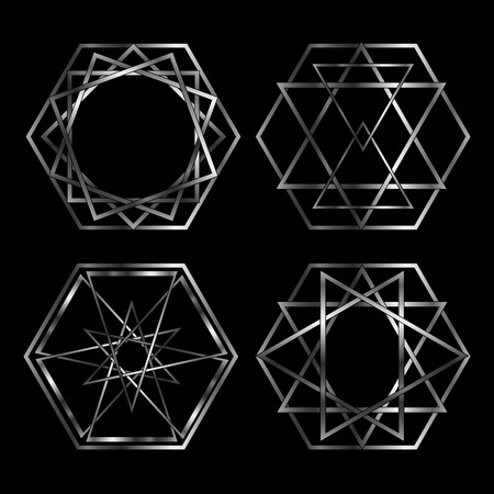 Set of Artistic hexagonal logos in silver Vector
