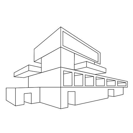 Esquisse Maison Sur Fond Blanc. Chemin De Détourage Inclus Banque D