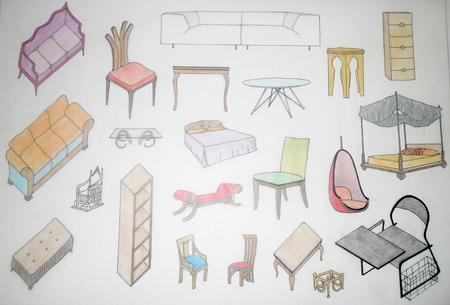 Assorted home furniture drawn by hand photo
