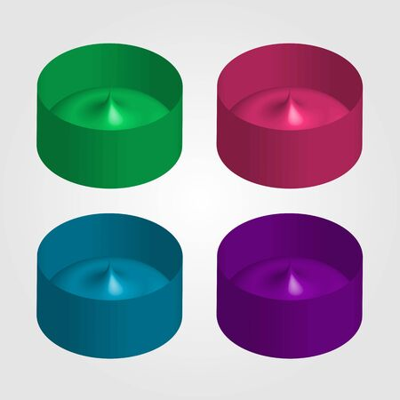 Colorful 3d objects for use as logo or design element Çizim