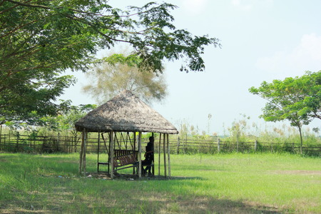 thatched: Open thatched barn with a bench