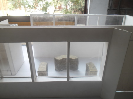architecture model: Architecture model with round seating space and large windows