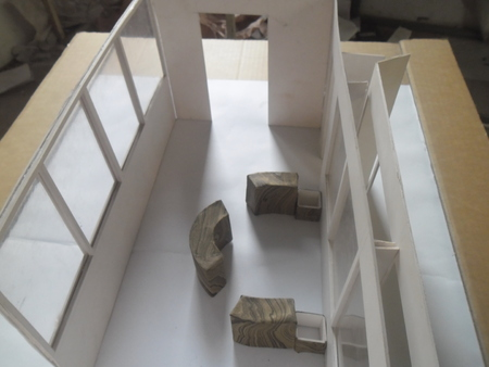 large windows: Architecture model with round seating space and large windows