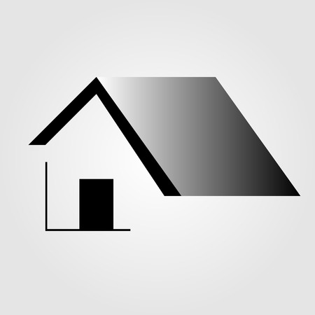 outline red: Abstract home- logo for real estate or architecture firm Illustration
