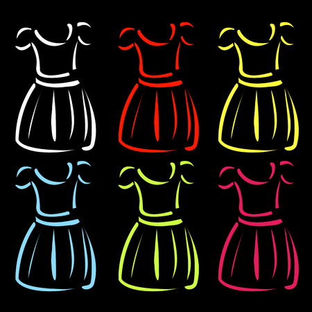 protective gown: Drawing of pinafore- apparel logo Illustration