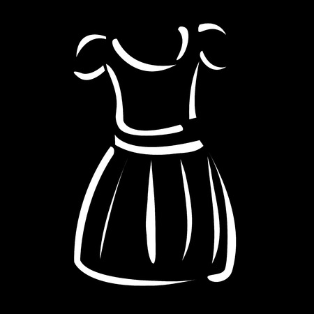 wedding dress back: Drawing of a pinafore- apparel logo Illustration