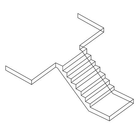 stair: Dibujo de una escalera de hormig�n Cemento Reforzado Vectores