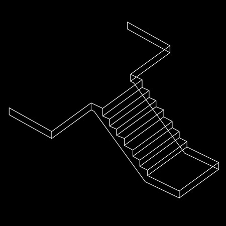 concrete stairs: Drawing of a Reinforced Cement Concrete stair Illustration