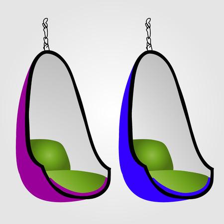 Egg chair- interior design furniture Illustration