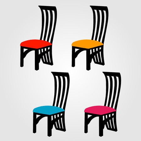 Colorful Designer dining chairs Vector