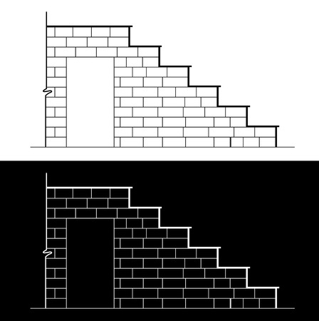continuum: Drawing of a brick stair with stone or marble slab