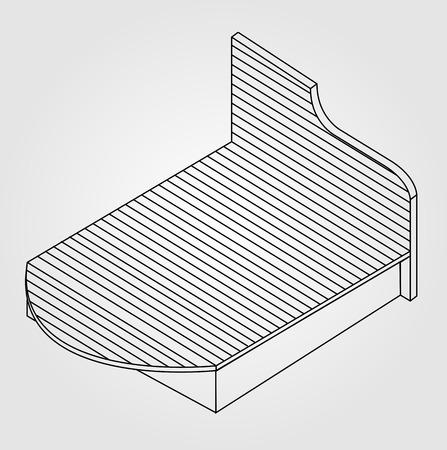 木製ベッド家具図面の 3d ビュー