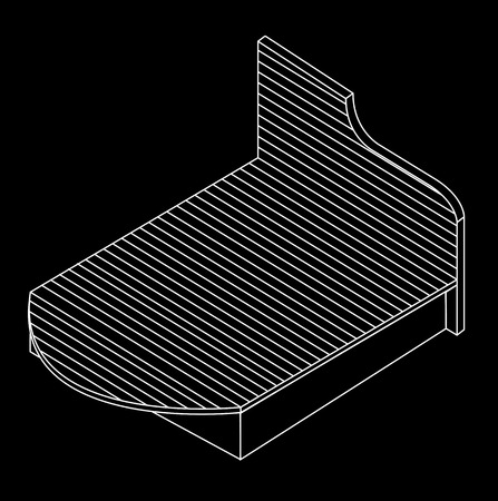 duvet: 3d view of a wooden bed furniture drawing
