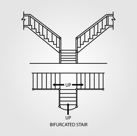 concrete stairs: Top view and front view of a bifurcated staircase