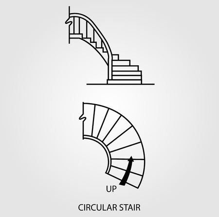 Top view and side view of a circular staircase