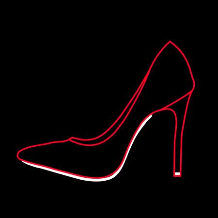 Women's shoe graphic on black background Ilustracja