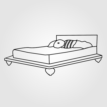 headboard: Drawing of bedroom furniture