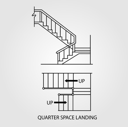 Top view and front view of a stair with quarter space landing