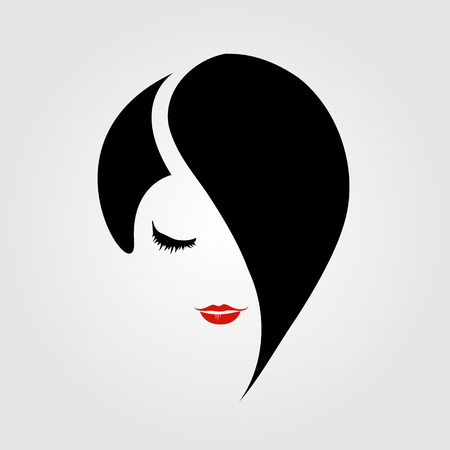 Woman with red lipstick and emo hairstyle