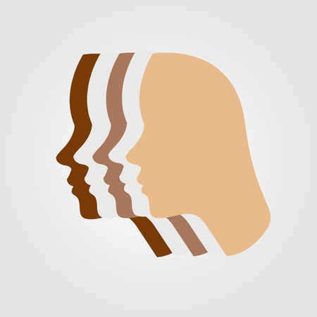 tanning: Silhouette showing tanning of skin Illustration