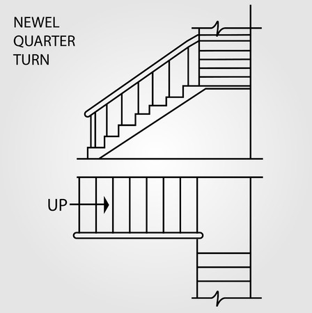 concrete stairs: Top view and front view of a Newel quarter turn staircase
