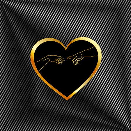 Creation of Adam inside a golden heart and metallic texture