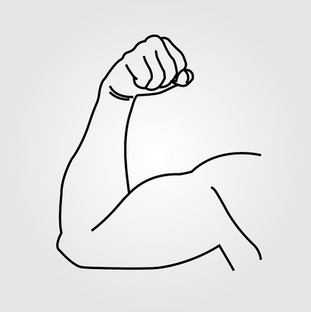 clench: Abstract drawing of a mans arm flex Illustration