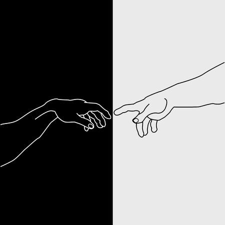 adam eve: Hands showing the creation of Adam Illustration