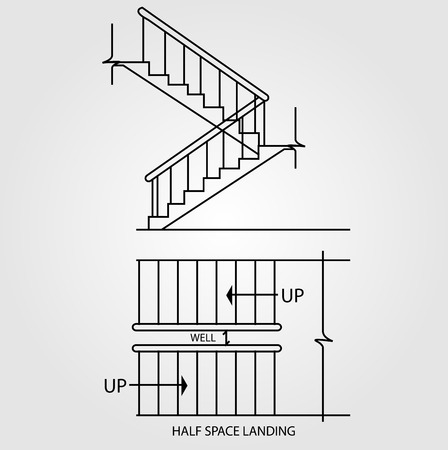 staircases: Top view and front view of a half space landing staircase