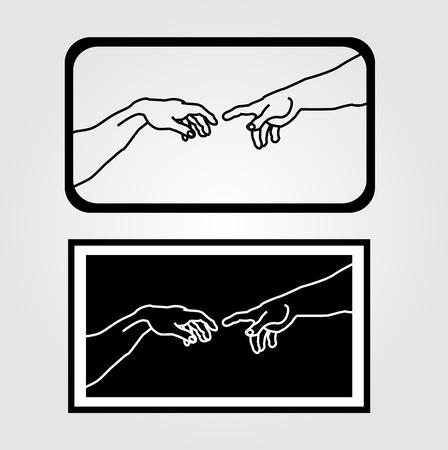 Hands showing the creation of Adam Ilustração