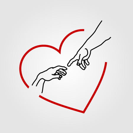 adam: Hands showing the creation of Adam in a red heart Illustration