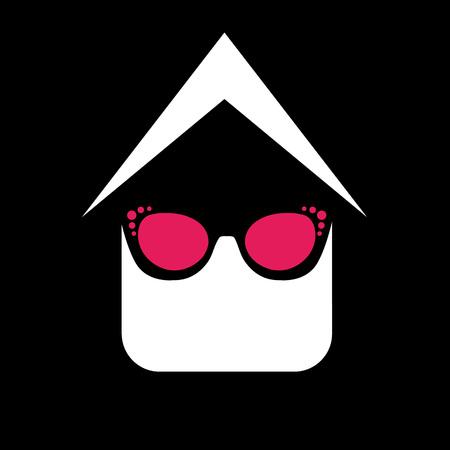eye wear: Eye wear shop  House with fashion eyeglass or sun glass Illustration