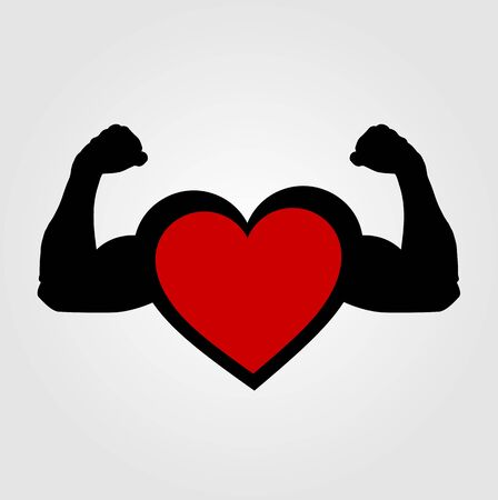 flexing: A heart with flexing muscles- Healthy heart