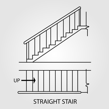concrete stairs: Top view and front view of a straight staircase