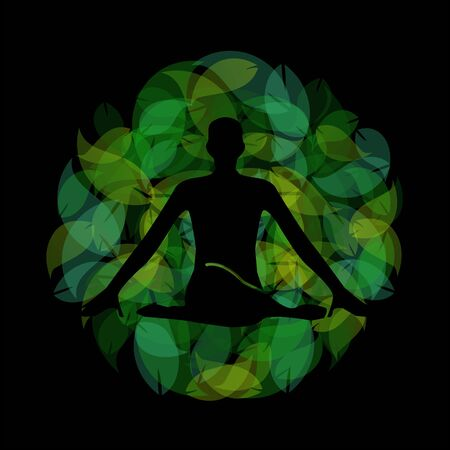 Silhouette of a meditating person or a person performing yoga