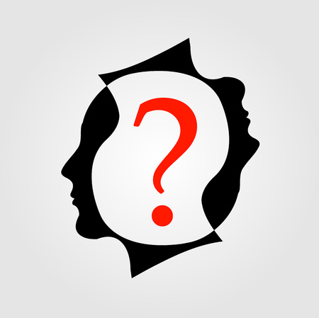 interrogative: heads with a question mark showing different queries