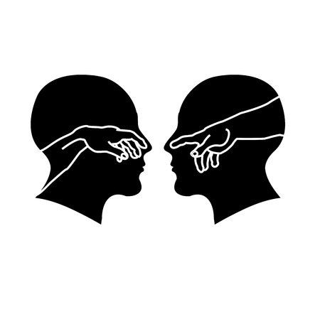 Silhouette of male faces with hands showing creation of Adam
