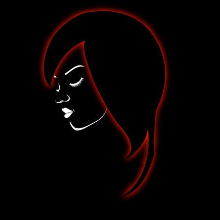 energy healing: A beautiful girl in a red glowing hair