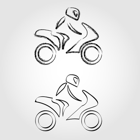 A biker on a motorbike with sketch effect