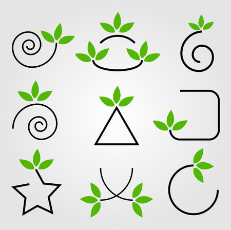 vegetate: Set of green leaves design elements Illustration
