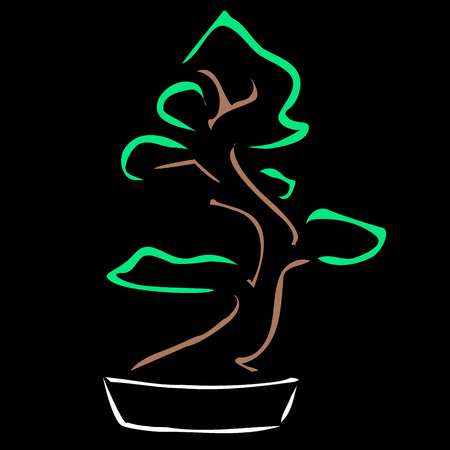 show plant: Abstract bonsai drawing