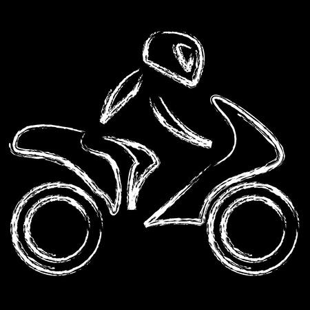 paddock: A biker on a motorbike with sketch effect