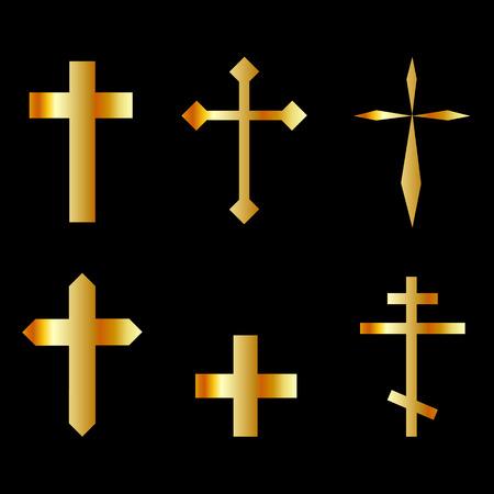 christian crosses: golden christian crosses in different designs Illustration