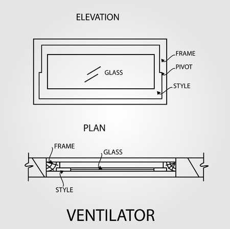 elevation: Diagram of a ventilator showing plan and elevation