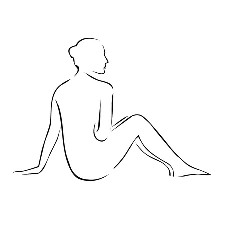 nude woman: Abstract drawing of a nude woman at a spa Illustration