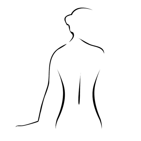 Abstract drawing of a nude woman
