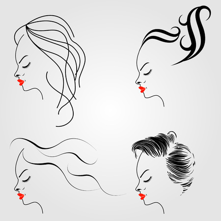 pouty: Women with different hairstyles