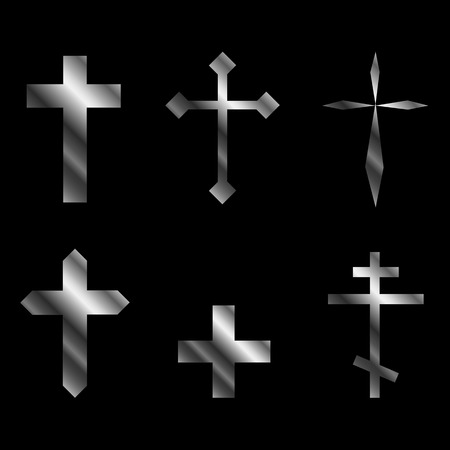 christian crosses: Silver christian crosses in different designs