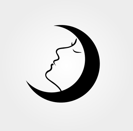 Woman face inside a moon with her eyes closed Illustration